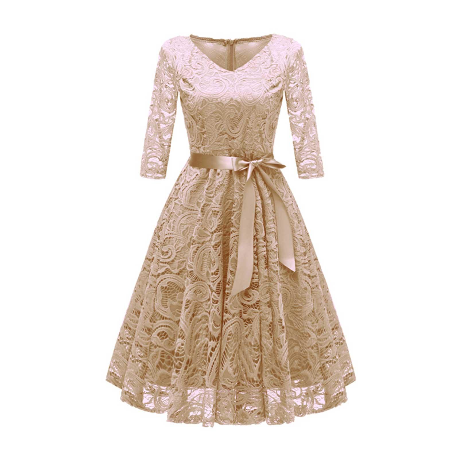 acbe9dd68f Floral Lace 3/4 Sleeve Wedding Bridesmaid Evening Midi A Line Dress ...
