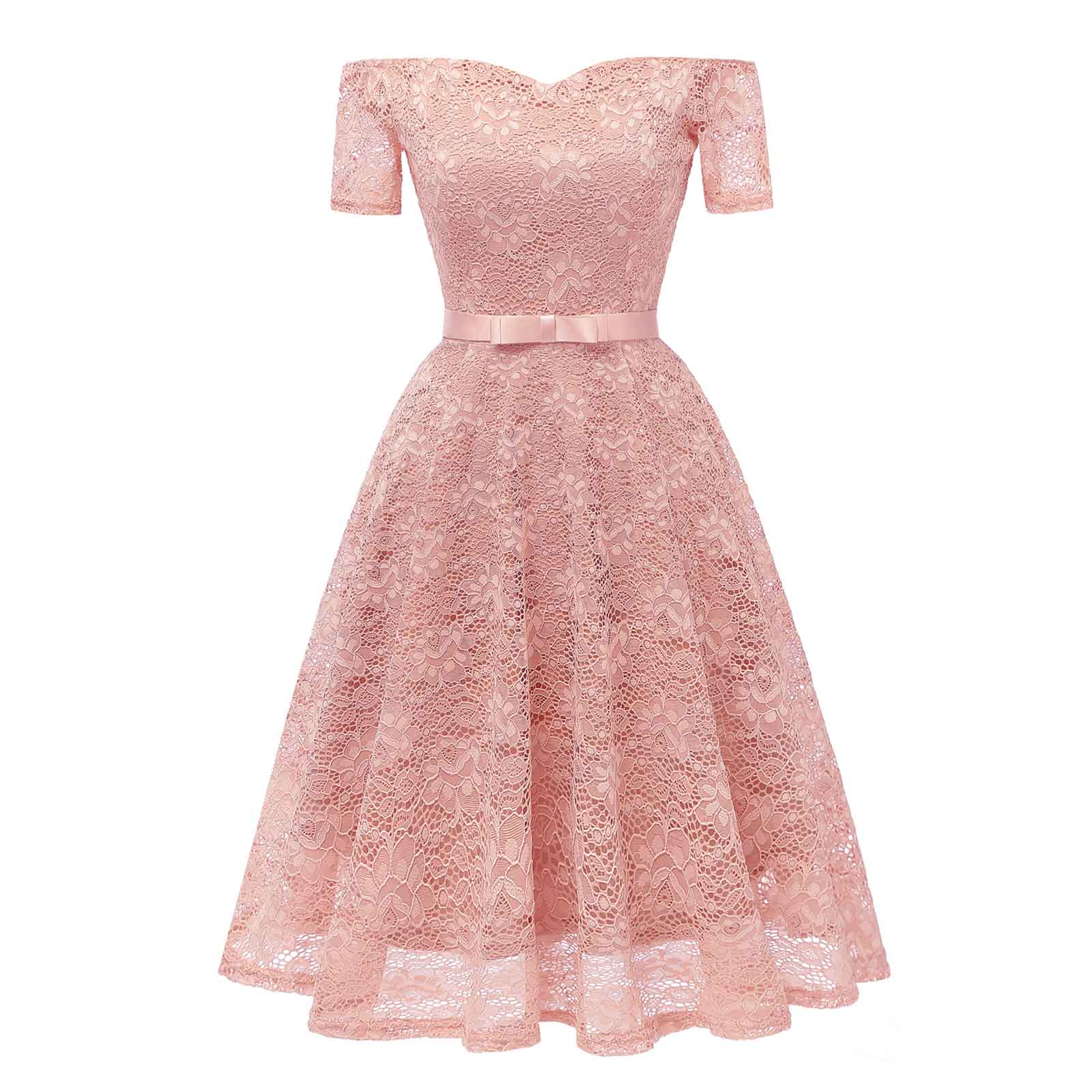 01ef805c734 Midi Off Shoulder Classic Bowknot Evening Wedding Bridesmaid Dress ...