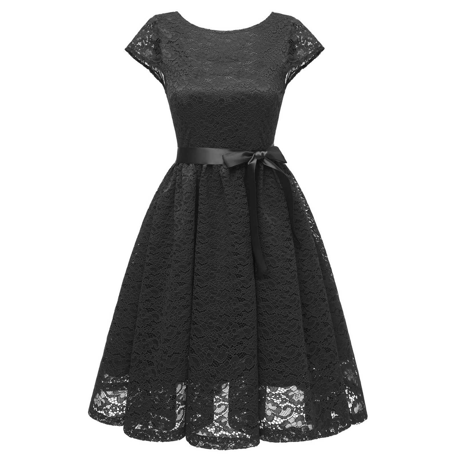 cde8e78be56 Women Bowknot Short Sleeve Fit and Flare A Line Vintage Lace Dress ...
