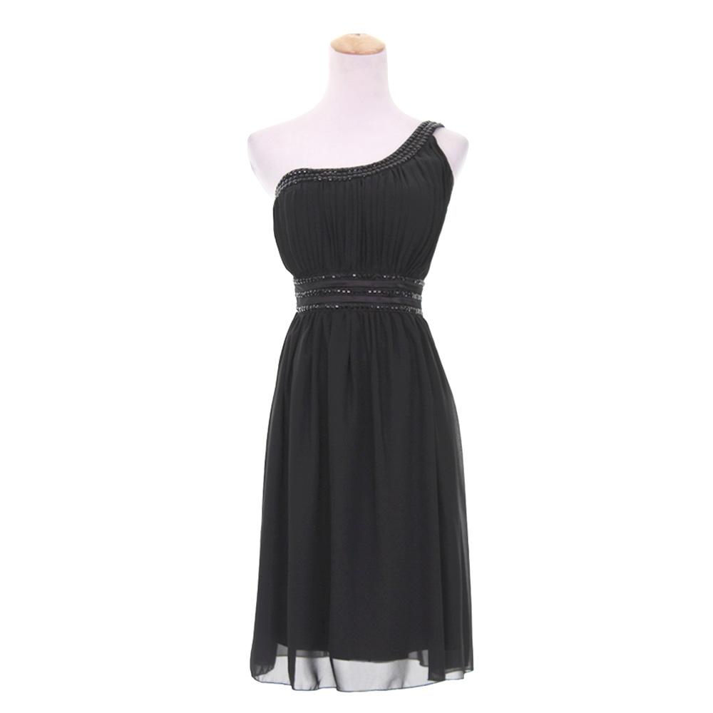 Mini Chiffon Beaded High Waist One Shoulder Bridesmaid Dress ...