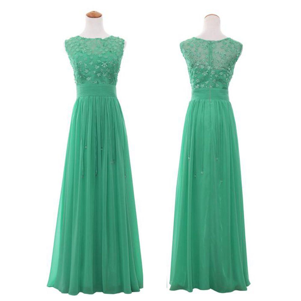 Floral Applique Beaded Scoop Neck Regular/Plus Size Evening Gown Formal  Evening Chiffon Dress