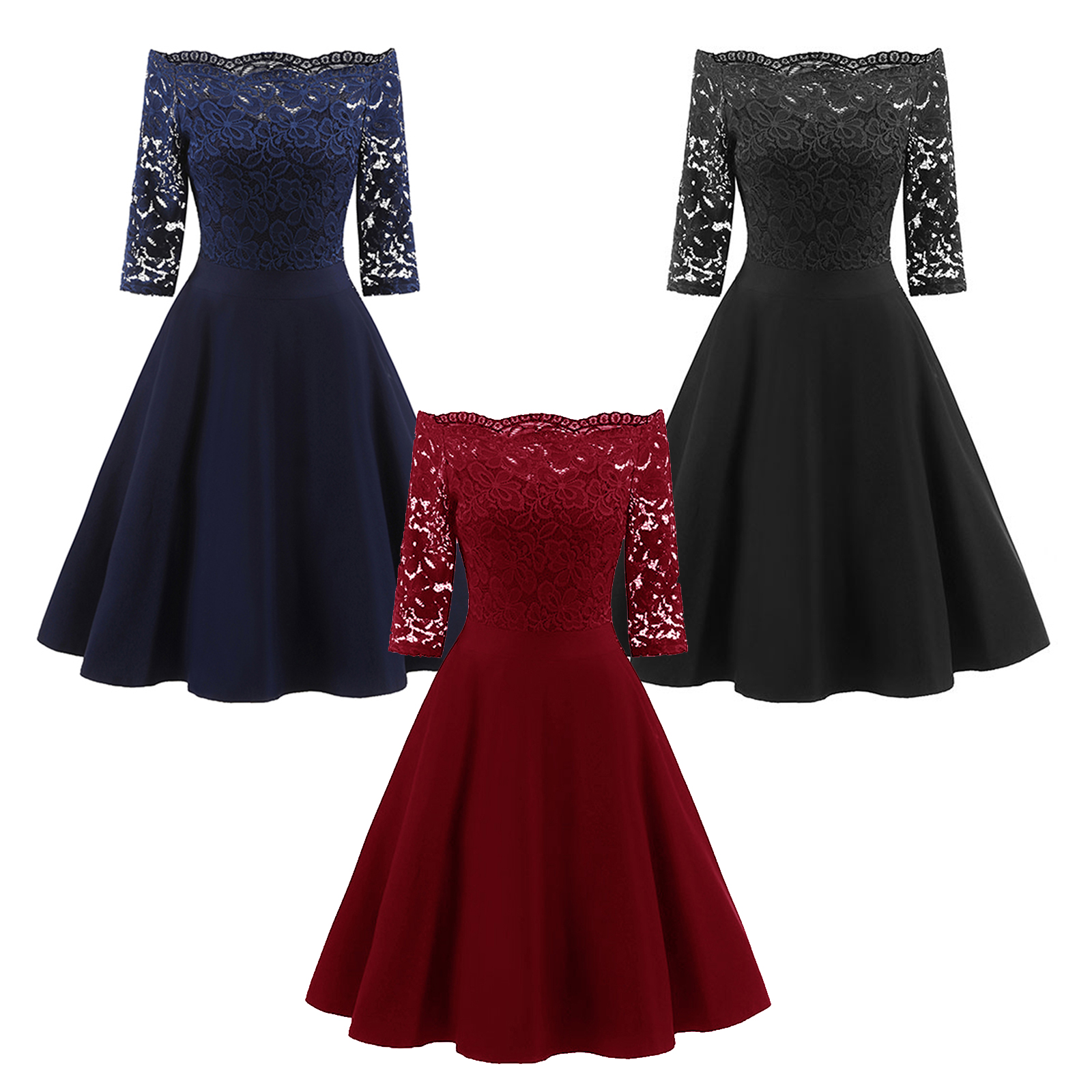 Classic Women Retro Sexy Lace Off Shoulder Cocktail Prom Midi Dress ...