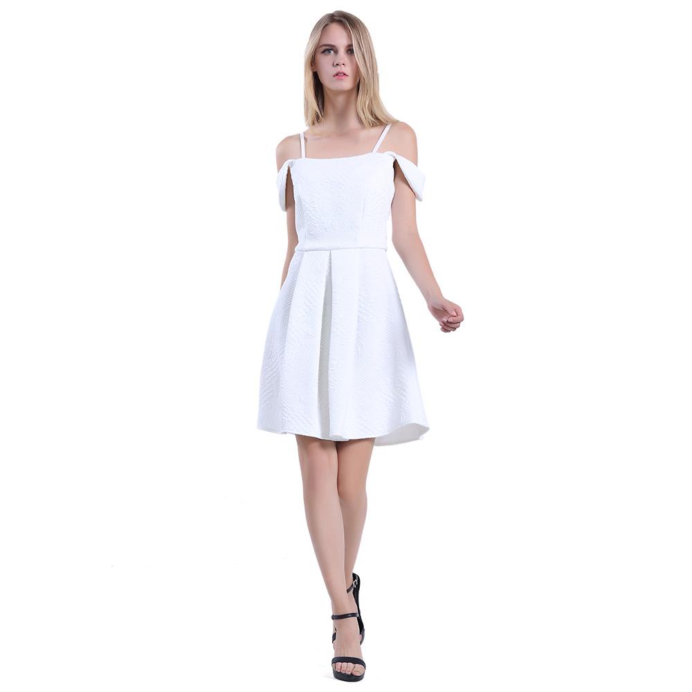Women Bodycon Texture Design Short White Sexy Cocktail Party Dress ...