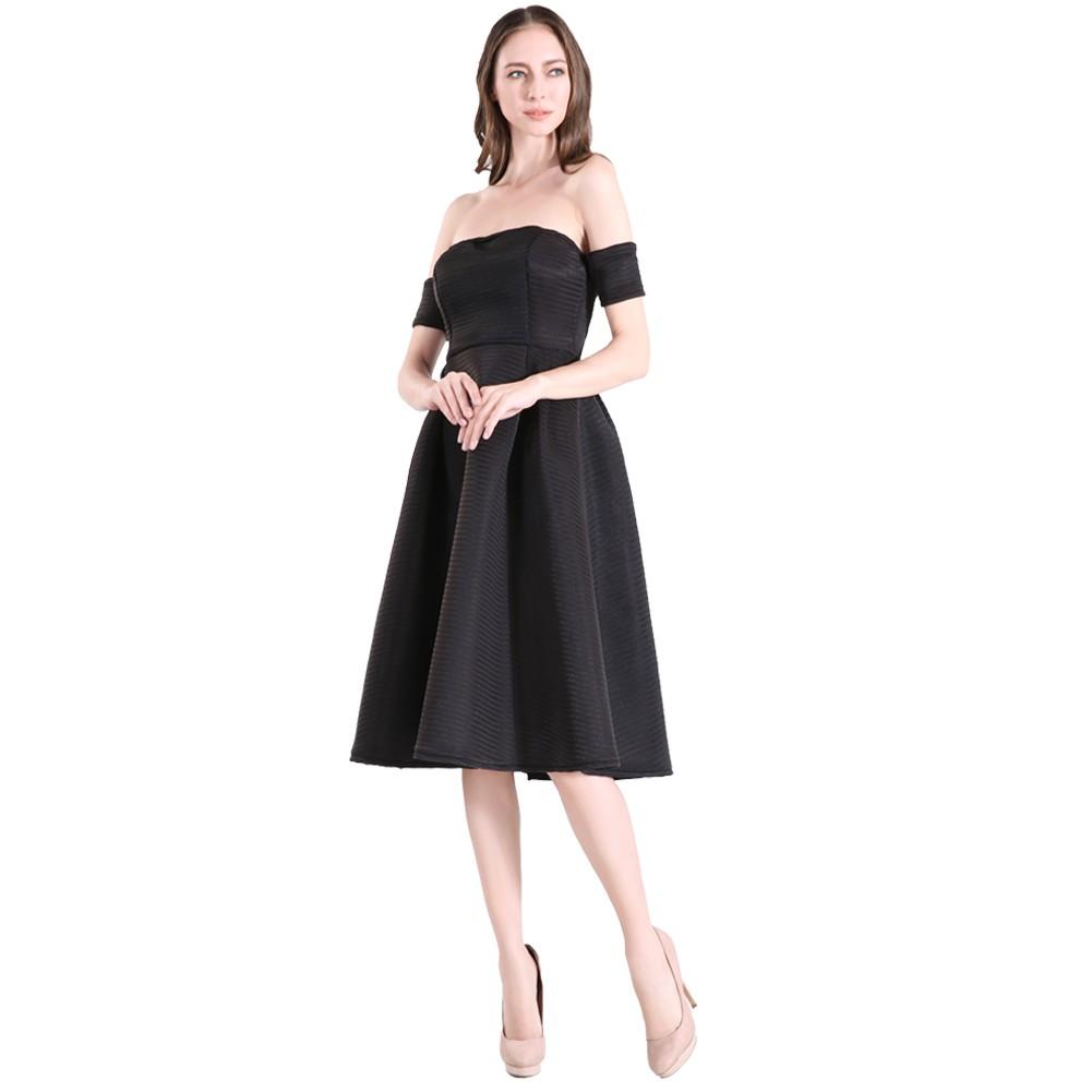 1433e82be895 Women A-line Vintage 1950 s Flare Midi Off shoulder Short Black Dress