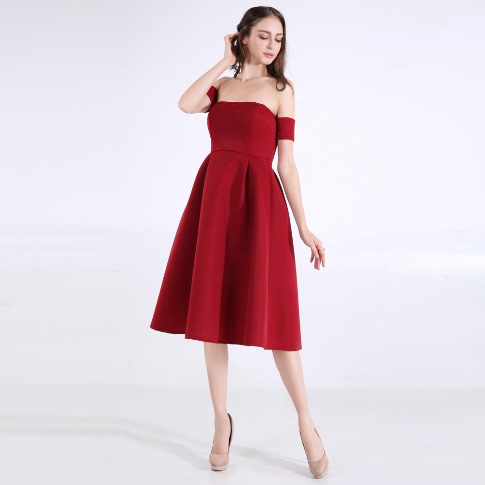0011f142ab Women A-line Fit and Flare Vintage Off Shoulder Short Navy Blue Midi  Evening Dress