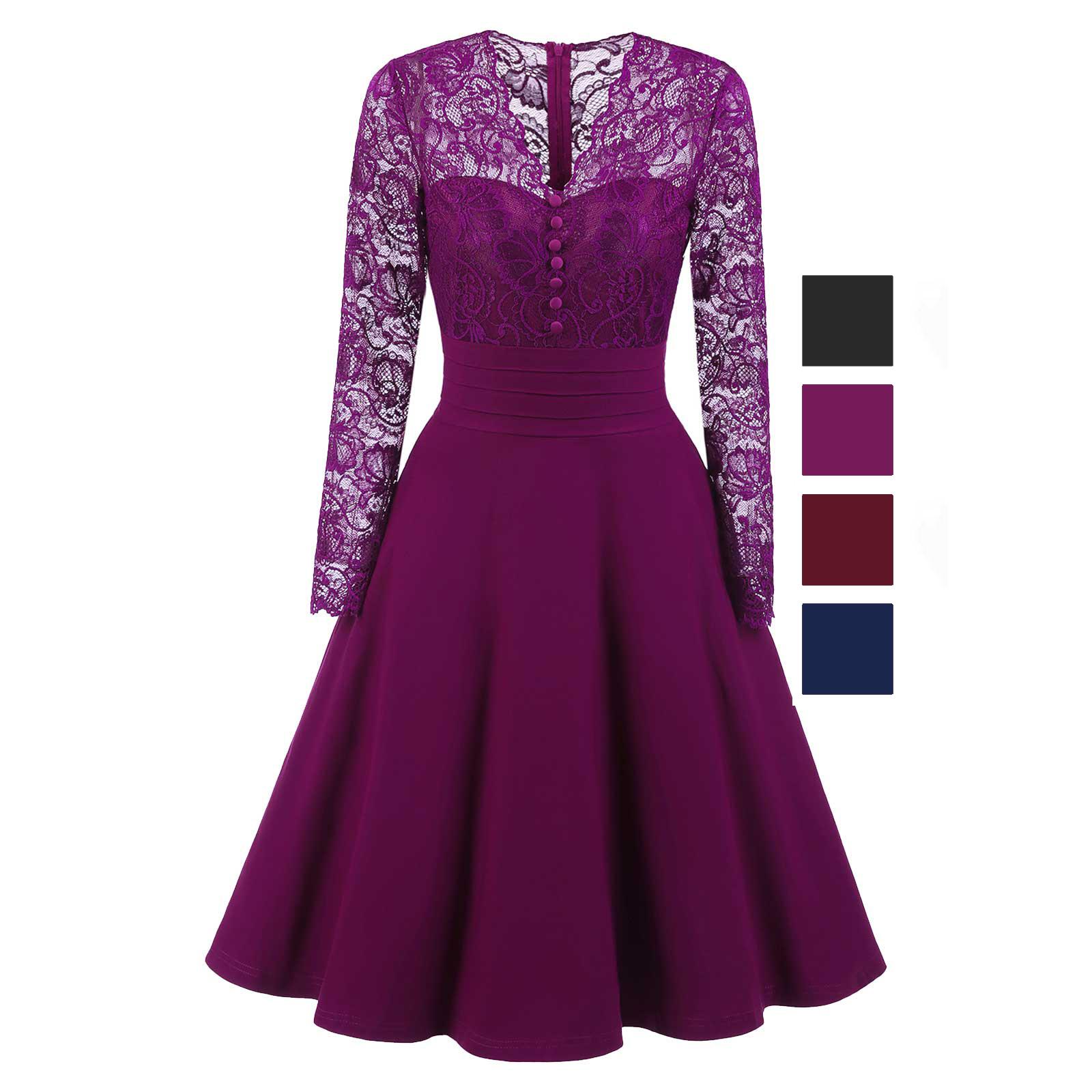 eda92ed295a A-line Midi Lace Corset Fashion Cocktail Prom Evening Dress ...