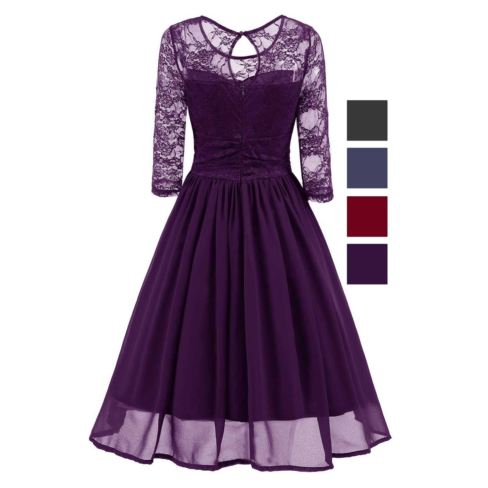 Classic Retro Chiffon Fit And Flare Wedding Evening Bridesmaid A Line Dress