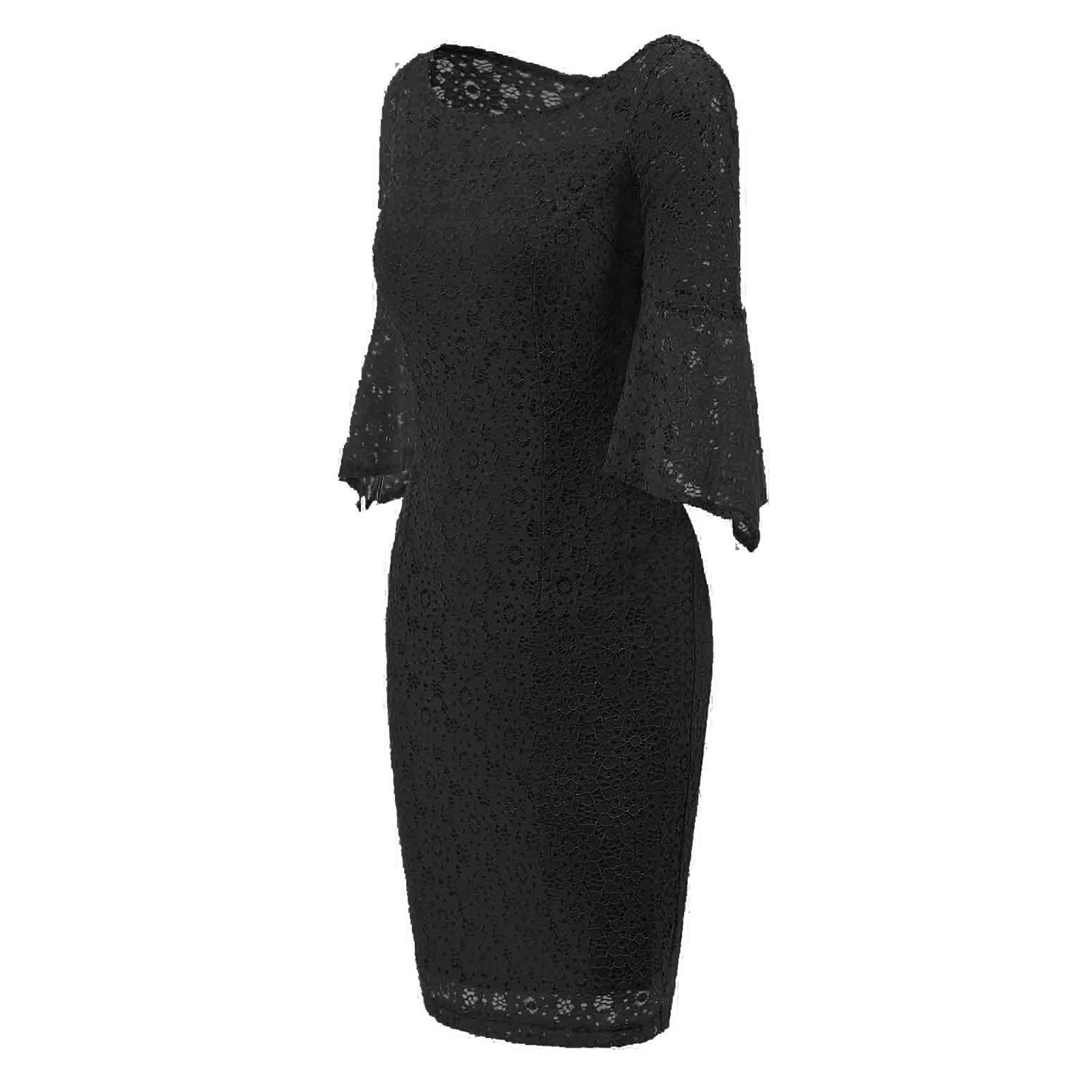 Sexy Women Bell Sleeve Lace Party Cocktail Bodycon Sheath Dress ...
