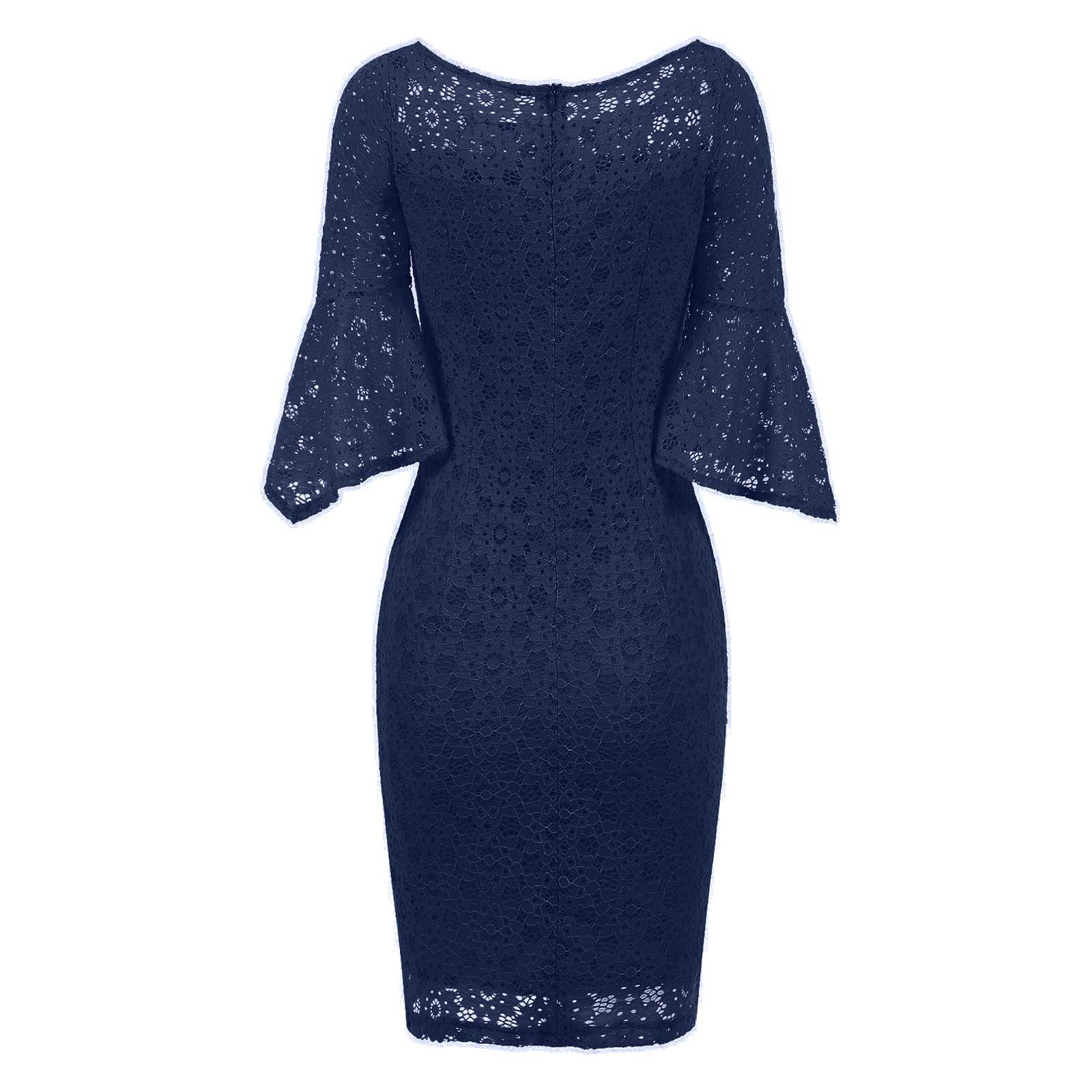 Sexy Women Bell Sleeve Lace Party Cocktail Bodycon Sheath