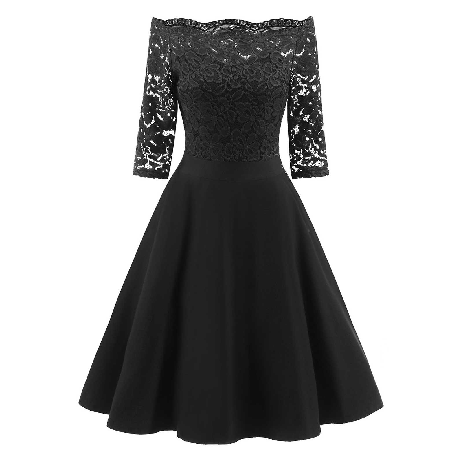 05314c5a0c40 Vintage Floral Lace Off Shoulder Formal Swing Wedding Evening A-line Dress