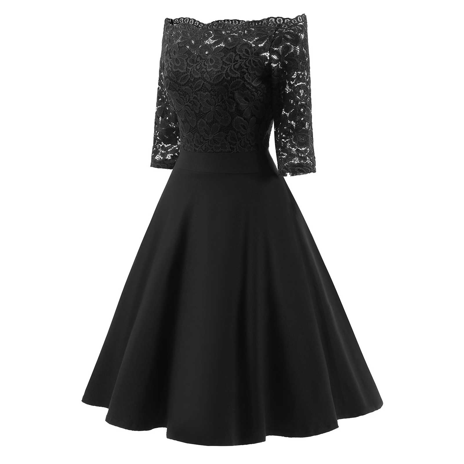 Classic Women Retro Sexy Lace Off Shoulder Cocktail Prom