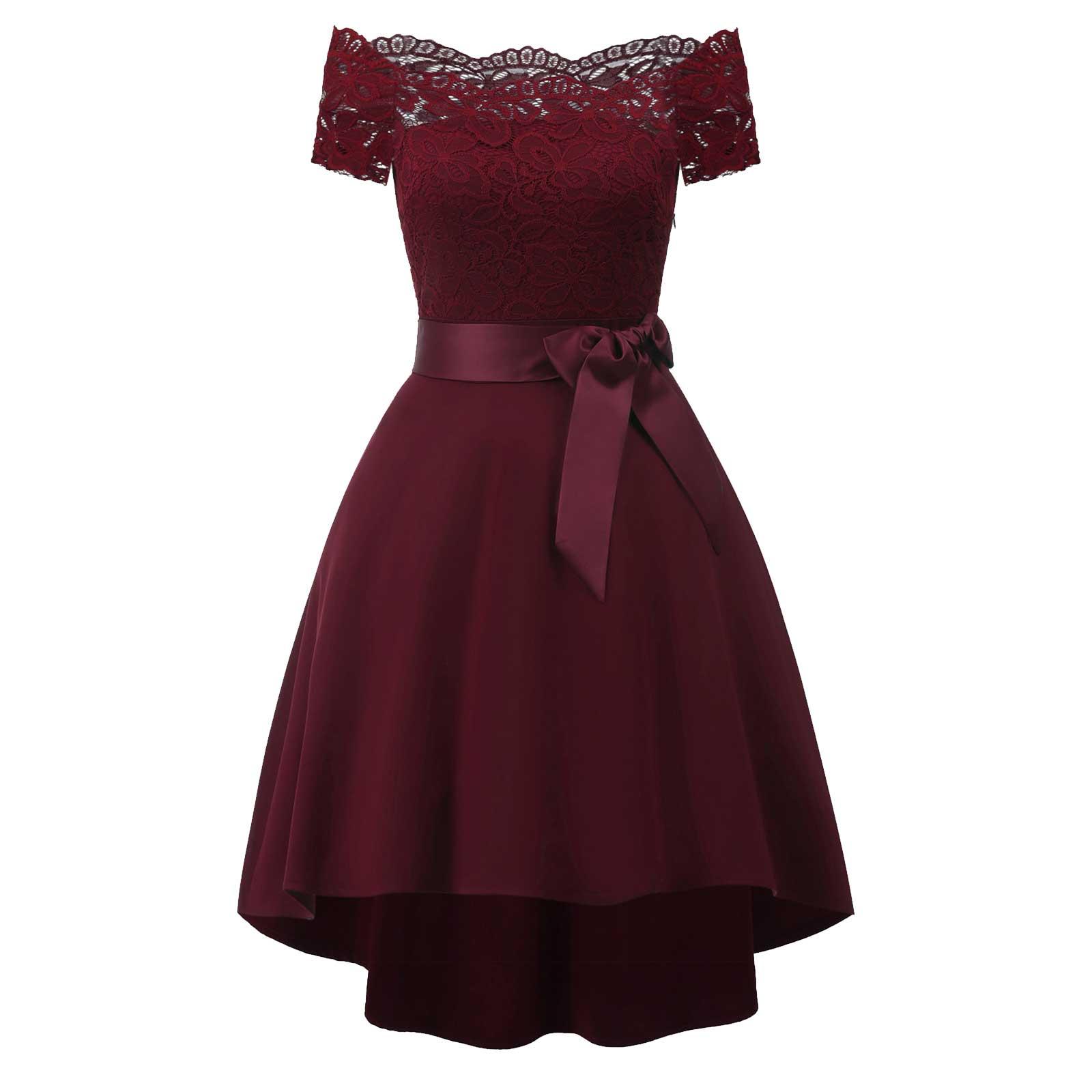 Vintage Off Shoulder Bowknot Formal Evening Cocktail Dress – Apricus ...