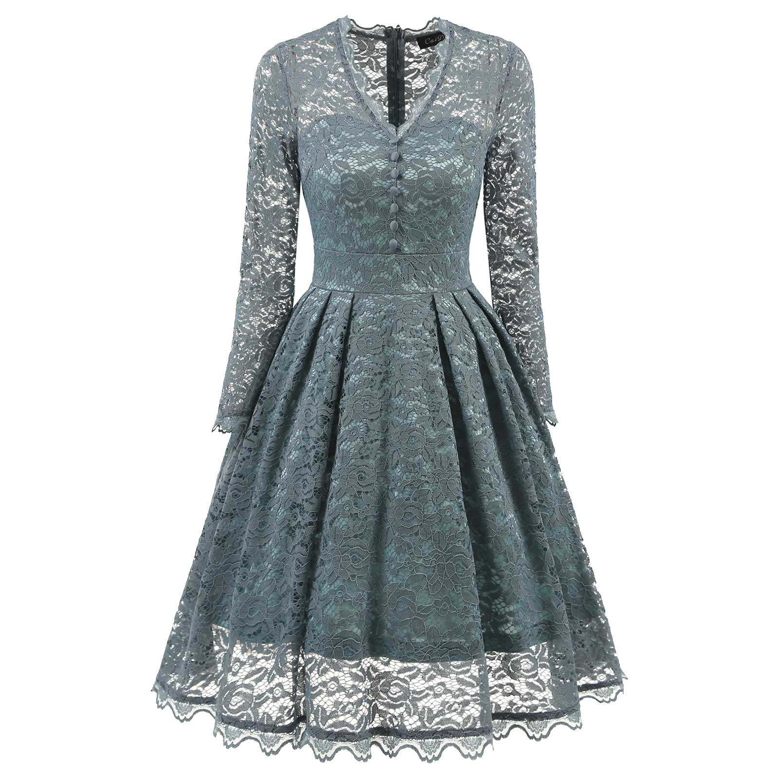 Vintage Women Embroidered Lace V-Neck Bridesmaid Cocktail Prom Dress ...