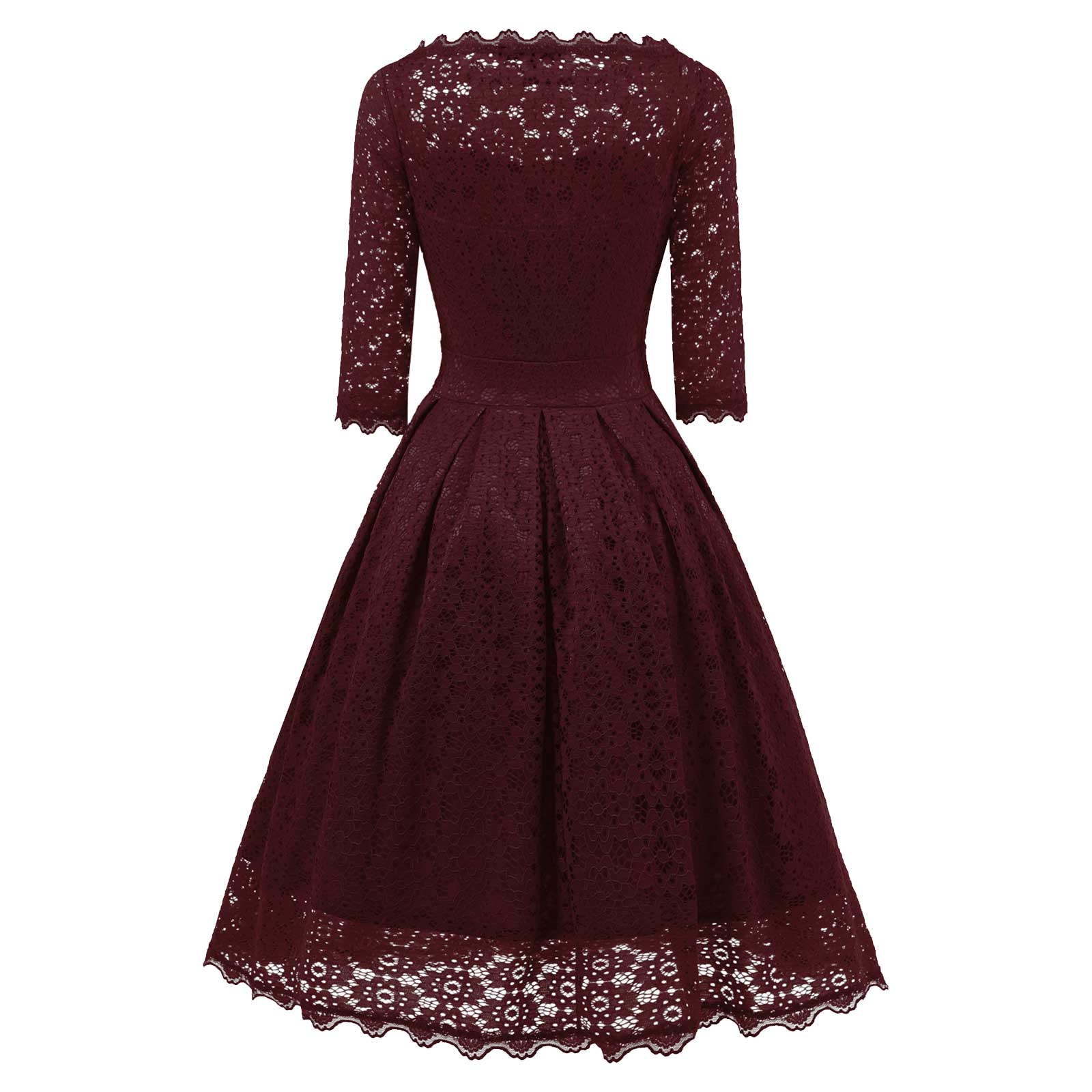 6c54930122fe Women 3 4 Sleeve Vintage Evening Sheer Short Pleated A-Line Midi Dress