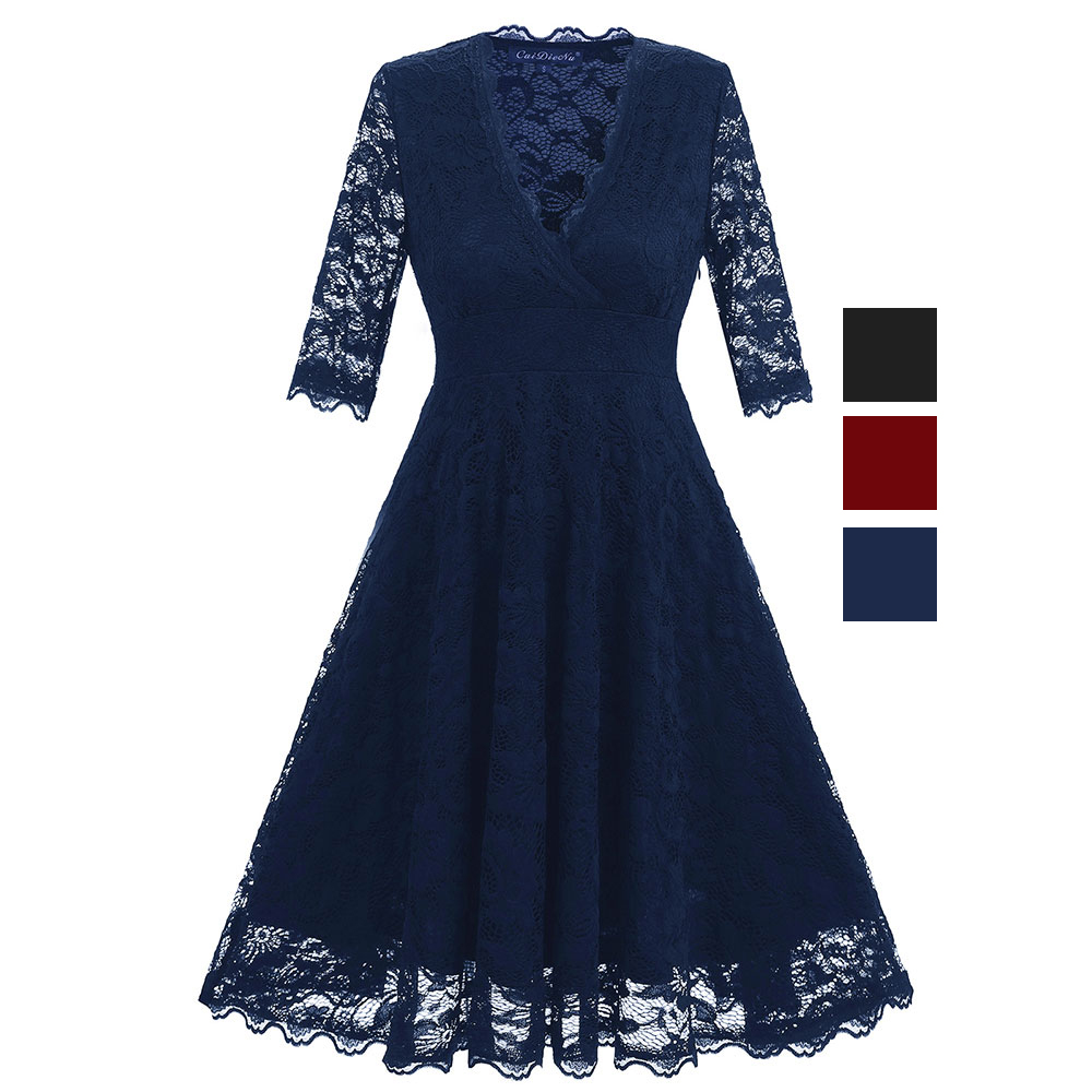 Women Sexy Lace 3/4 Sleeve Party Cocktail Wedding Bridesmaid A-Line ...