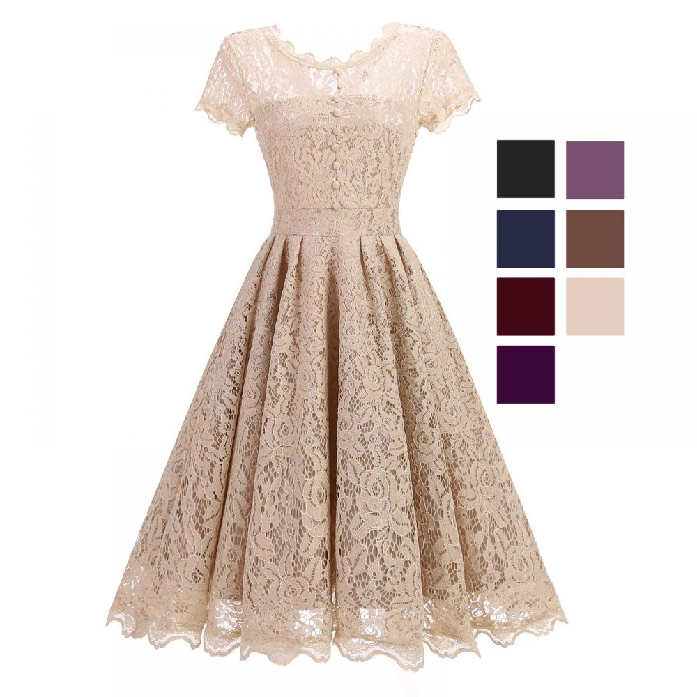 Womens Floral Lace Up Mini Dress Flared Sleeve Wedding Party Prom Evening Dress