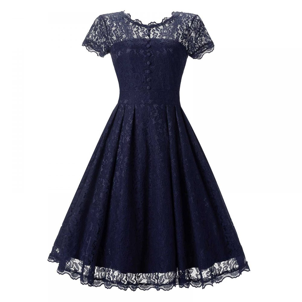 afe20e363ac04 A-line Midi Lace Corset Fashion Cocktail Prom Evening Dress. Vintage Floral  ...