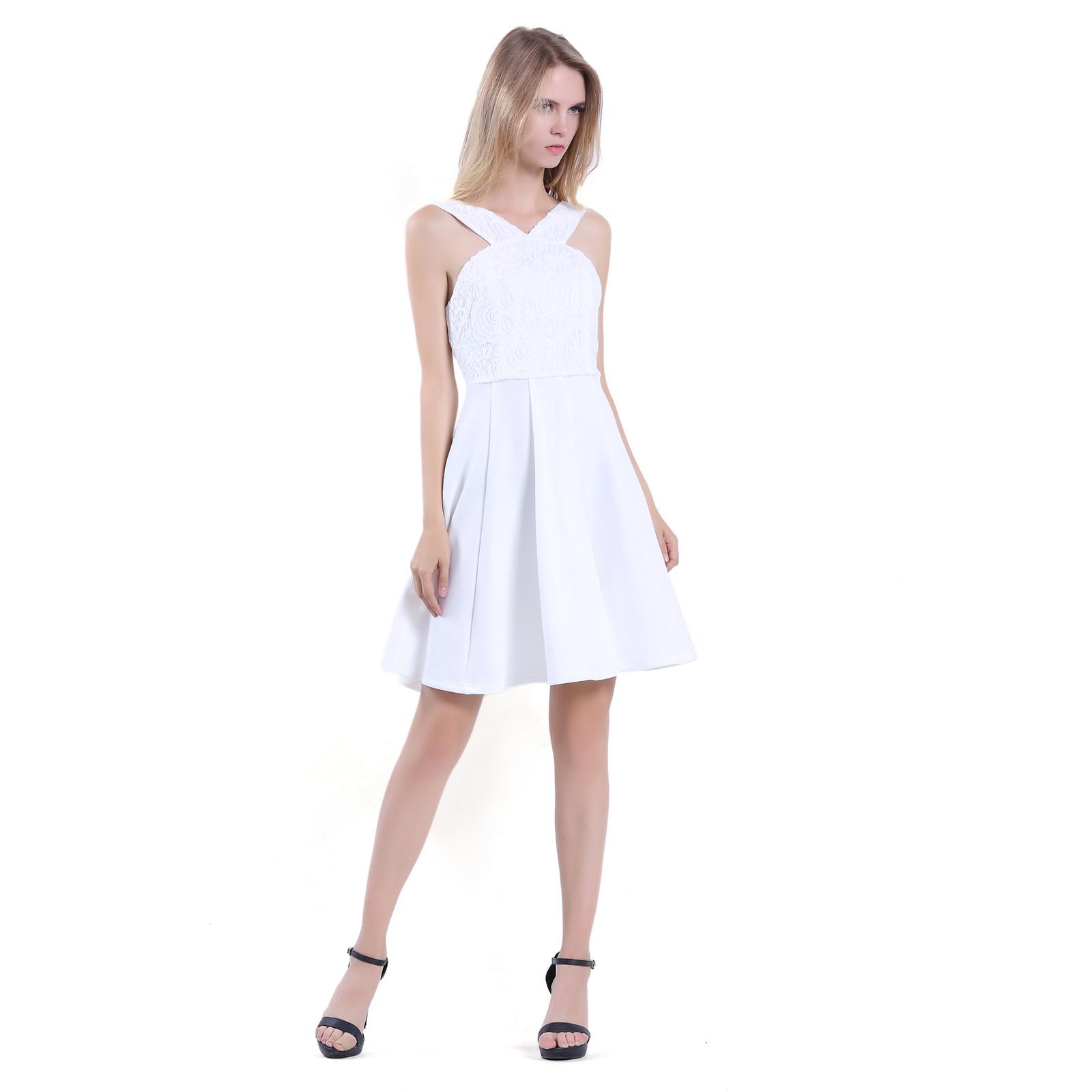 32d138713d03 Women Sleeveless Knee Length A line Halter Strap White Party Cocktail Dress