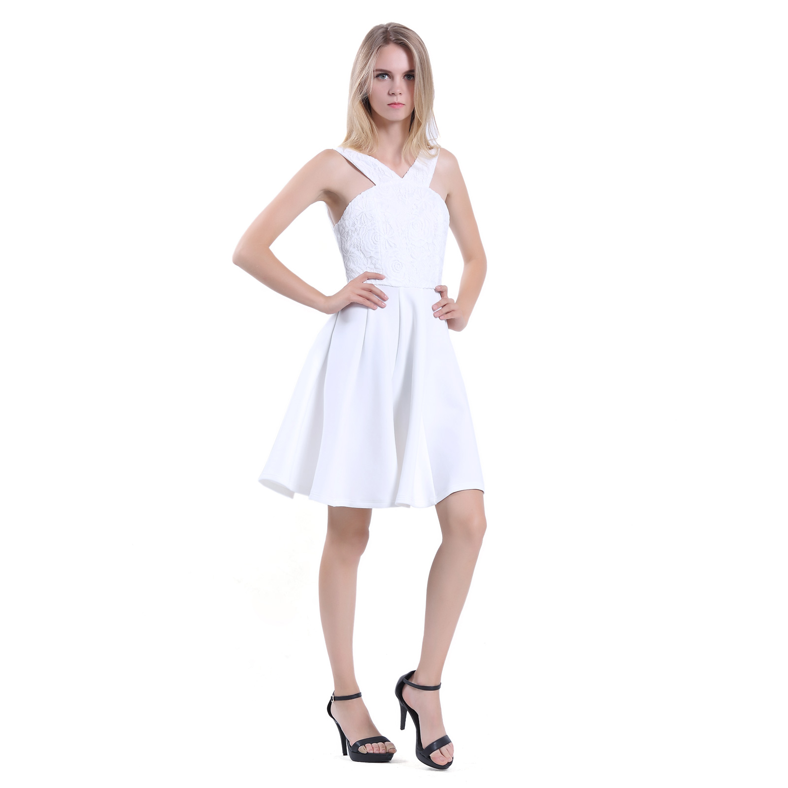 Women Sleeveless Knee Length A line Halter Strap White Party ...
