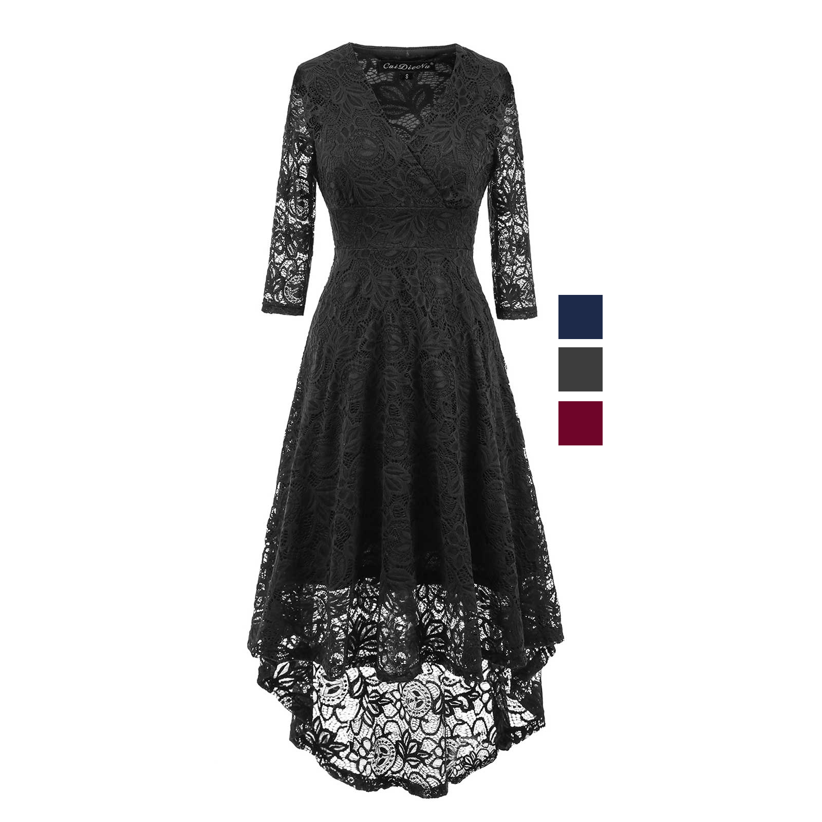 d00b78fc94d7 Women Vintage Floral Lace V Neck Fit and Flare A Line High Low Dress ...