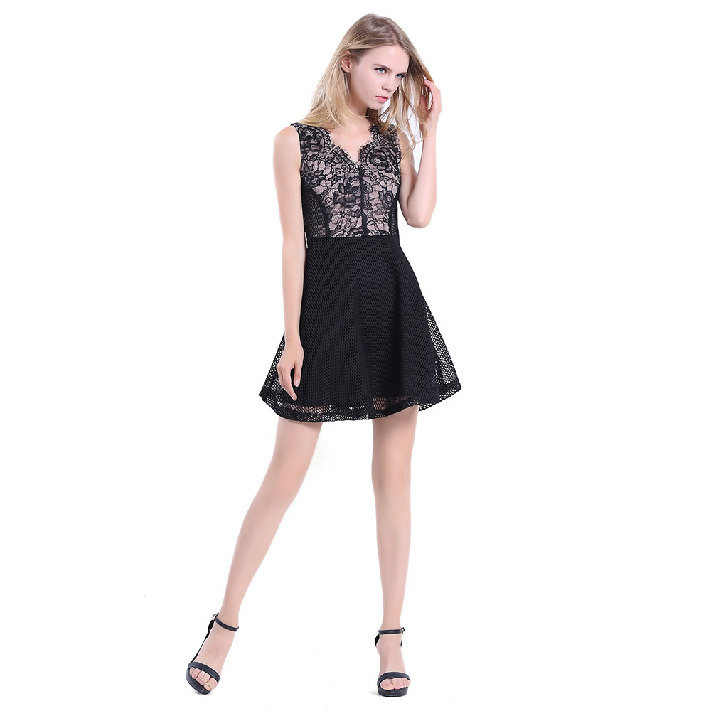 Women Sleeveless A line V Neck Short Cocktail Party Lace Black Dress ...