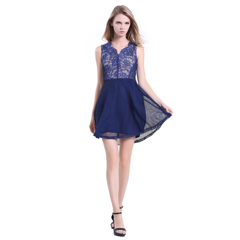 c1ec99df799f Women Sleeveless A line V Neck Short Cocktail Party Lace Dress Blue ...
