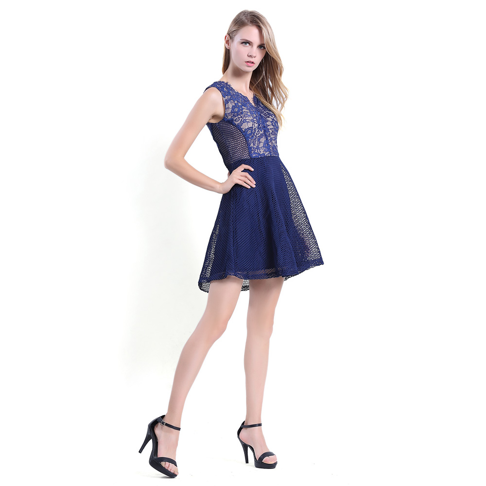Women Sleeveless A line V Neck Short Cocktail Party Lace Dress Blue ...