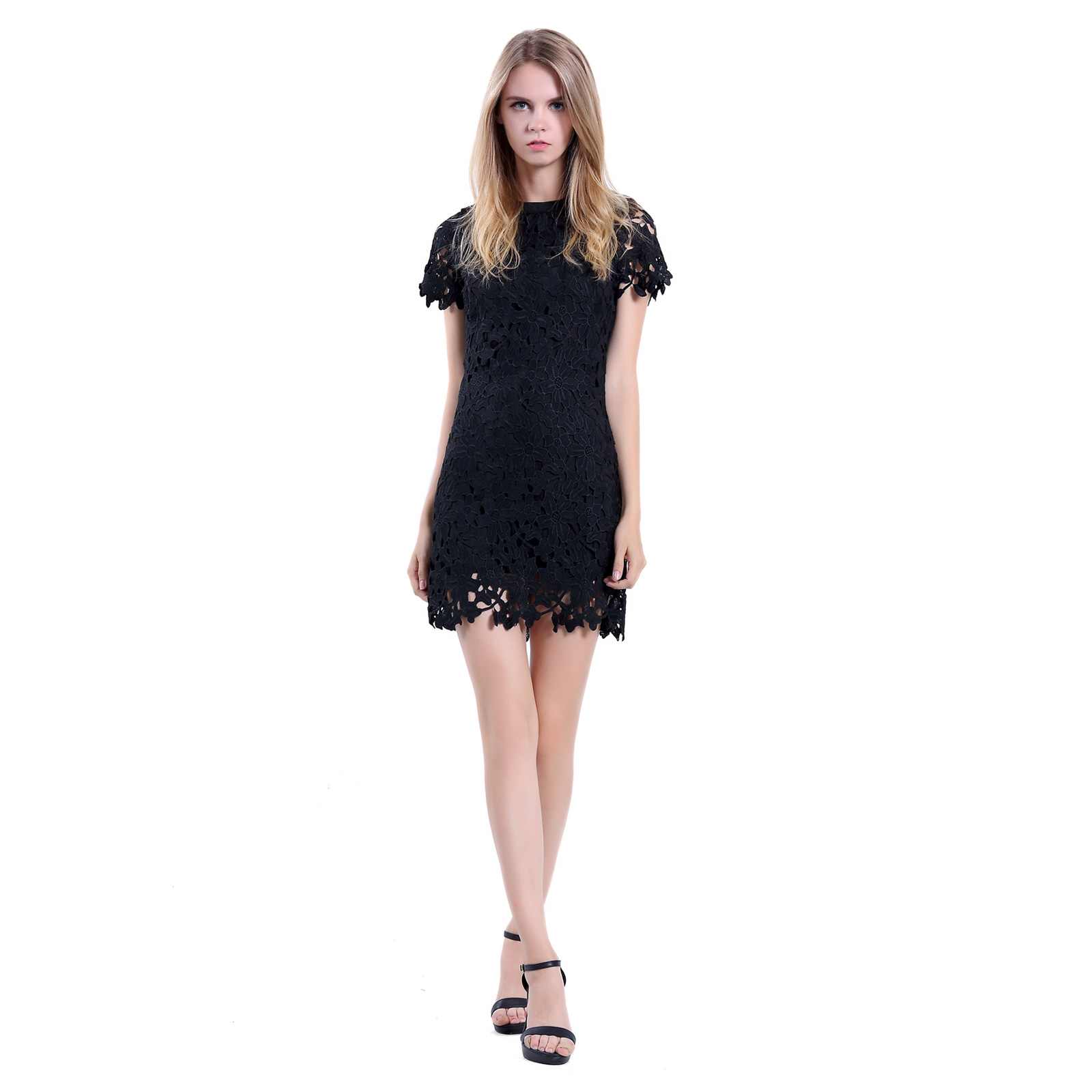bee82578004 Women Sheath Cut Short Sleeve Black Fringe Lace Short Party Cocktail Dress