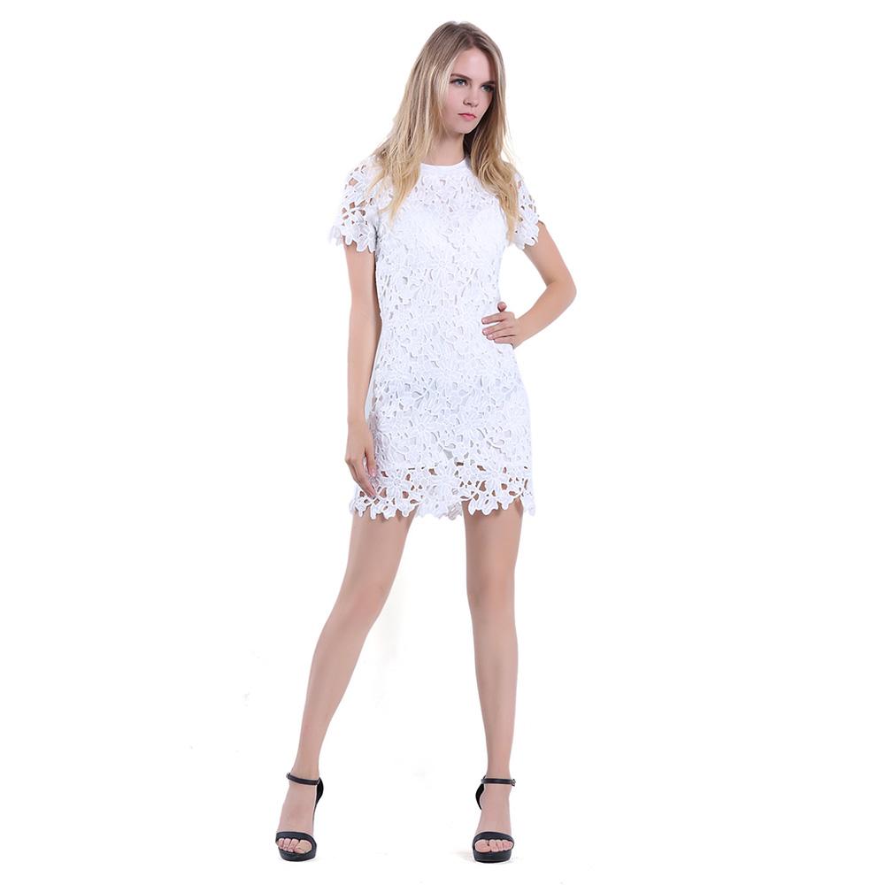 640b380c01 Women Sheath Cut Shortsleeve White Fringe Lace Short Party Cocktail Dress