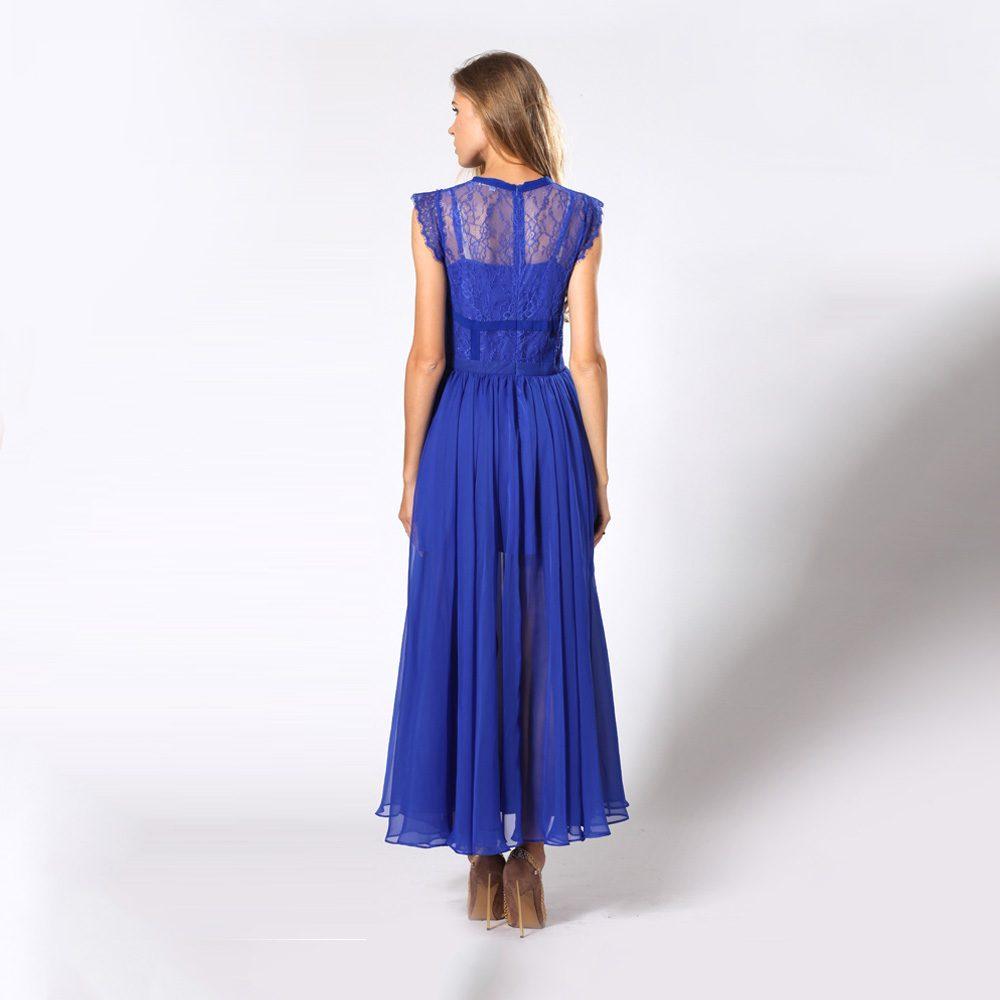 024dffd34db Women Sleeveless See Through Ruffle Blue Chiffon Maxi Evening Dress ...