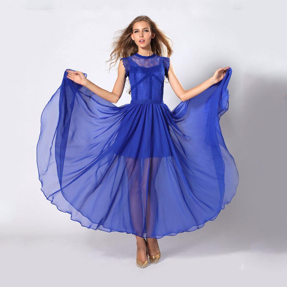 d1e85ed56f Women Sleeveless See Through Ruffle Blue Chiffon Maxi Evening Dress ...