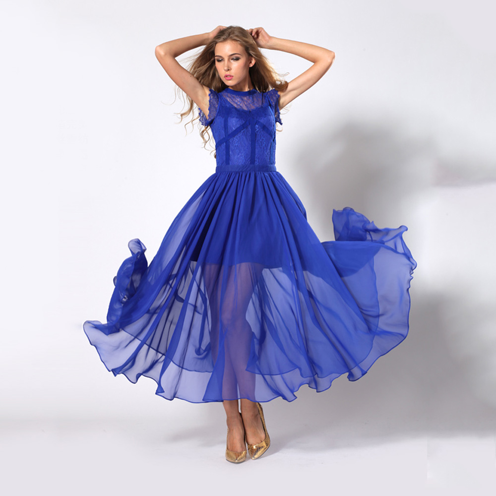 289610ec055c Women Sleeveless See Through Ruffle Blue Chiffon Maxi Evening Dress ...