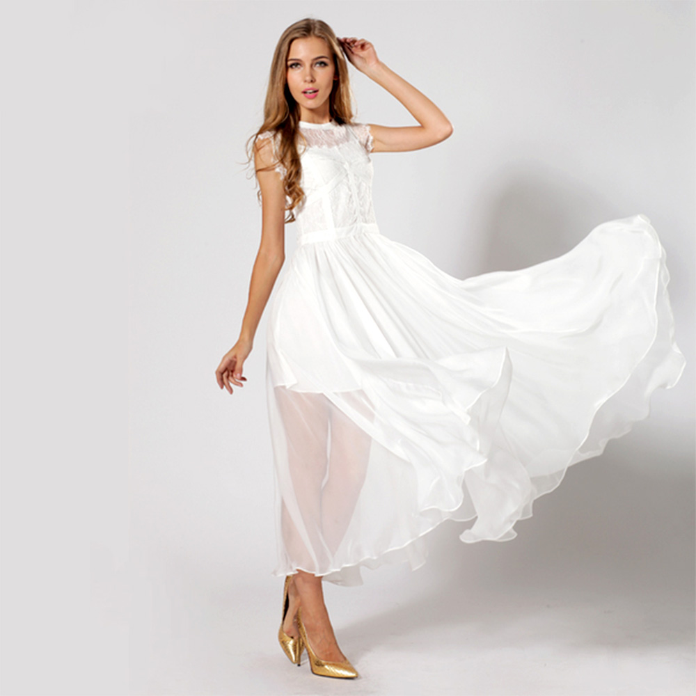 White Chiffon Dress with Sleeves