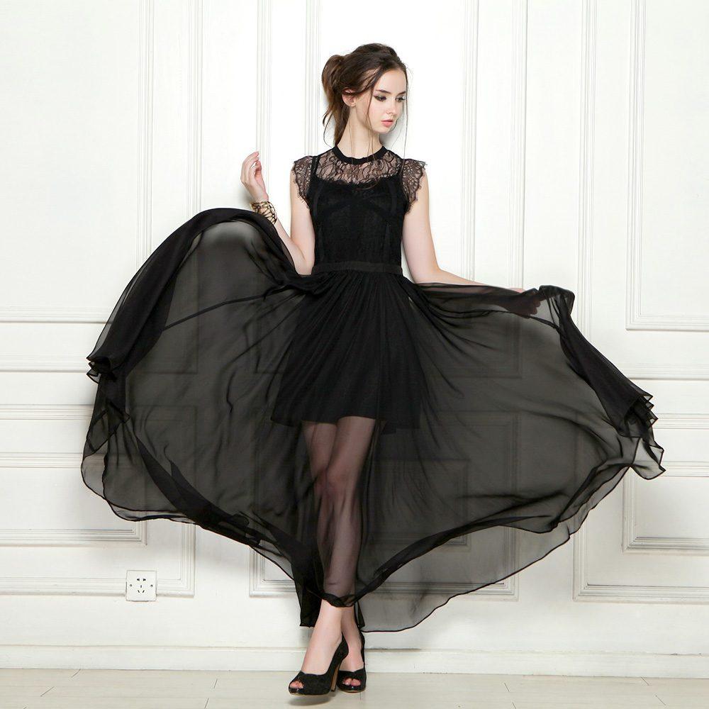 1904fa042b9 Women Chiffon Sleeveless Black Round Neck Evening Prom Maxi Dress ...