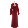 Plus Size Long Sleeve Women Deep V line Glitter Waist Polyester Maxi Long Maroon Formal Dress
