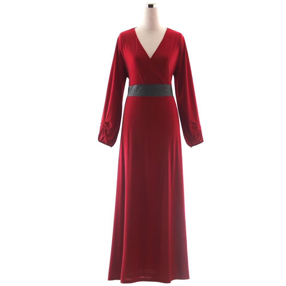 6d14f578c4cf Plus Size Long Sleeve Women Deep V line Glitter Waist Polyester Maxi ...