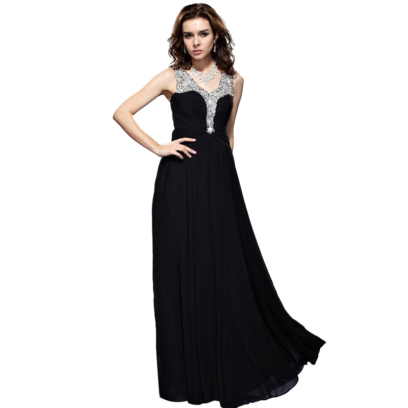 Women Rhinestones Beaded V-Neck Formal Regular/Plus Size Evening Gown Long  Prom Dress