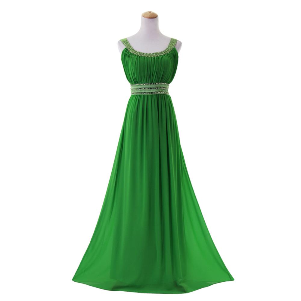 Beaded Chiffon Bridesmaid Dress Sleeveless Long Stretchable Evening ...