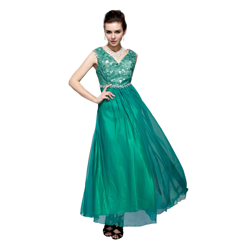 e021e19a66 Chiffon Sleeveless V-Neck Prom Dress Regular Plus Size Push Up ...