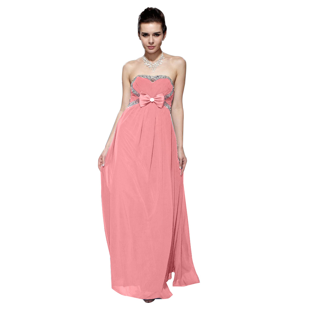Crystal Embellishment Pink A Line Strapless Bowknot Chiffon Evening ...
