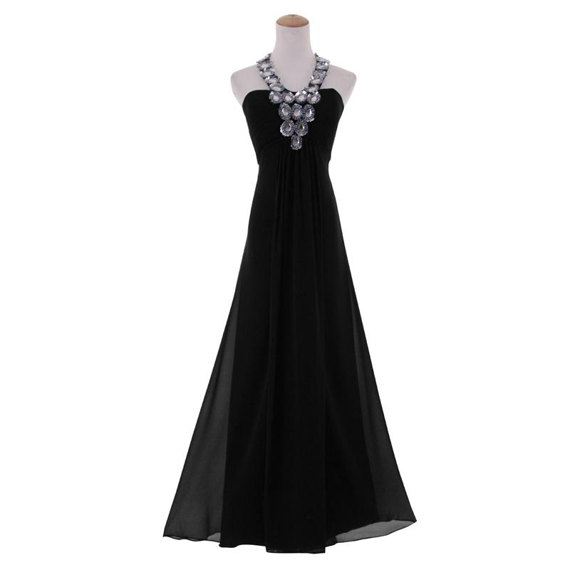 Diamante Halter Neckline Sleeveless Ball Gown Regularplus Size Long