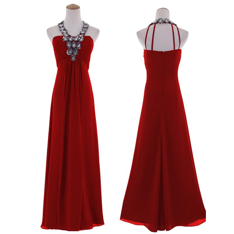 Diamante Halter Neckline Sleeveless Ball Gown Regular/Plus Size Long ...