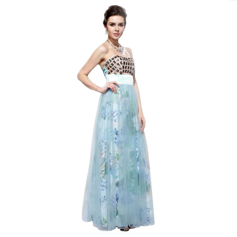 Elegant Tulle Chiffon Diamante Strapless Full Lining Formal Evening ...