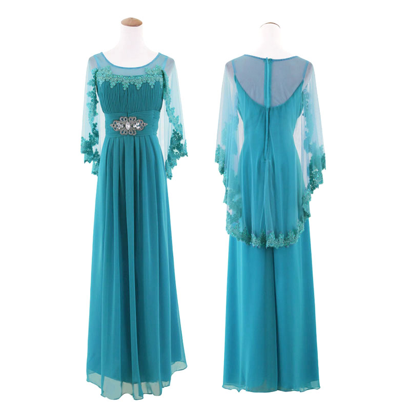 Retro Classic Ice Blue Beaded Ball Gown Long Evening Dress With Cape ...