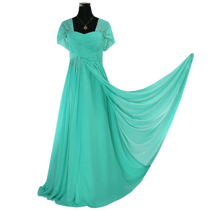 Elegant Sequins Beaded Cap Sleeve Regular/Plus Size Chiffon Evening Gown  Bridesmaid Long Prom Dress