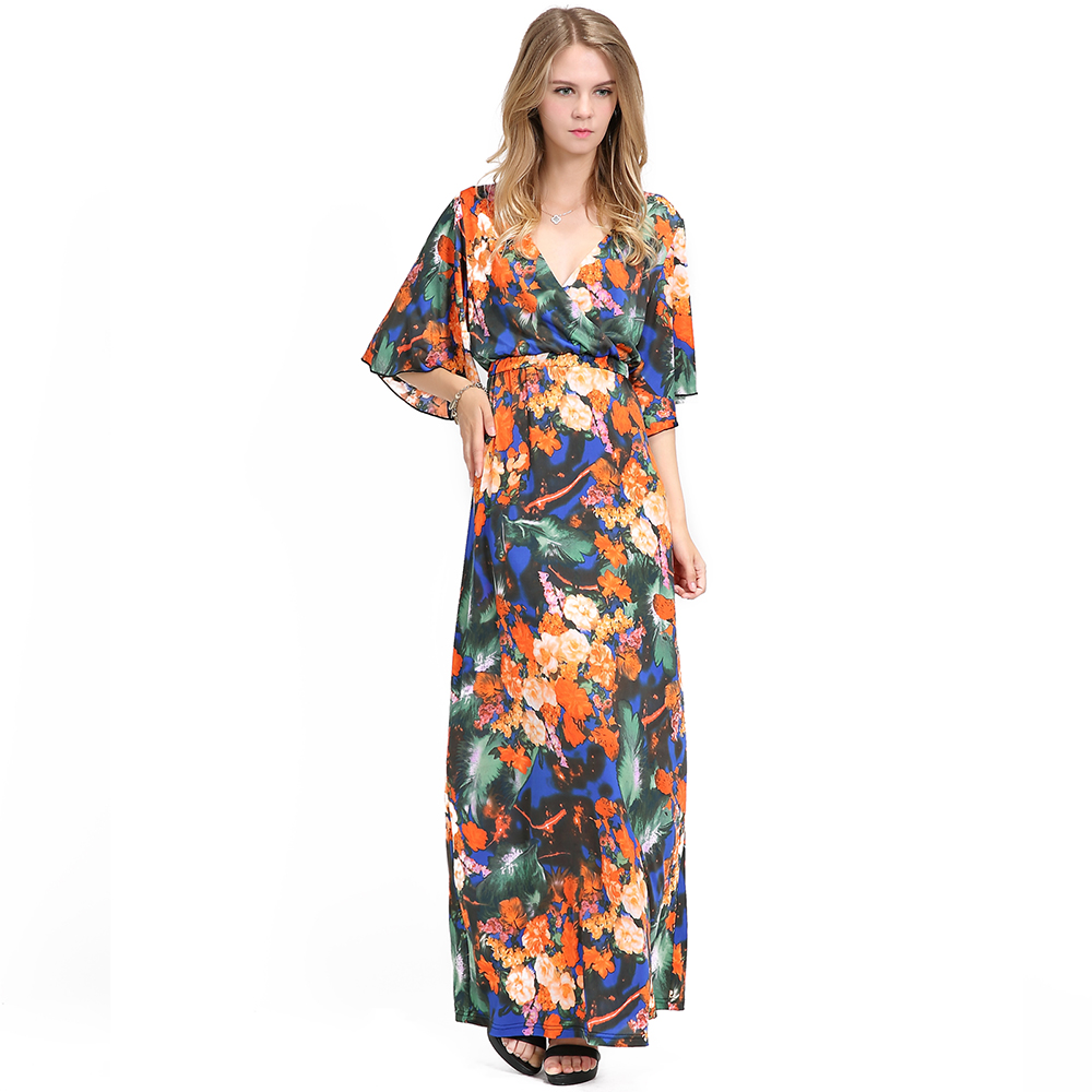 Plus Size V Neck Floral Printed Long Chiffon Women Bell Sleeve Evening Maxi  Dress