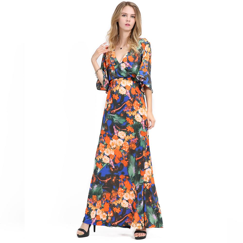 Plus Size V Neck Floral Printed Long Chiffon Women Bell Sleeve Evening Maxi  Dress