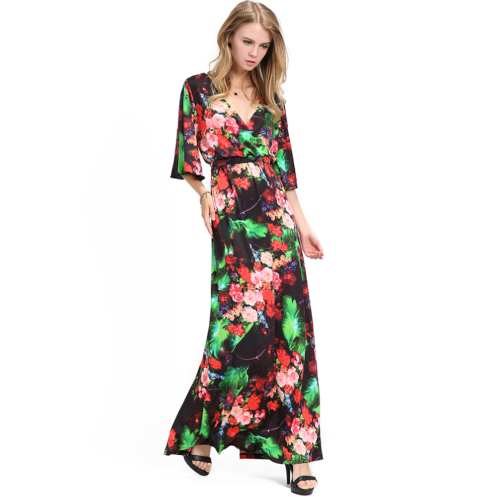Plus Size Women Bell Sleeves V Neck Multi Color Floral Printed ...