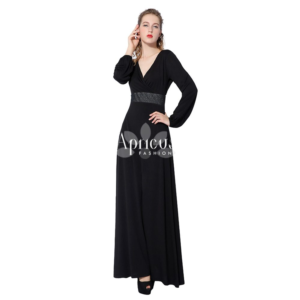 Long Sleeve Women Polyester Deep V line Glitter Waist Plus Size Maxi Long  Black Formal Dress