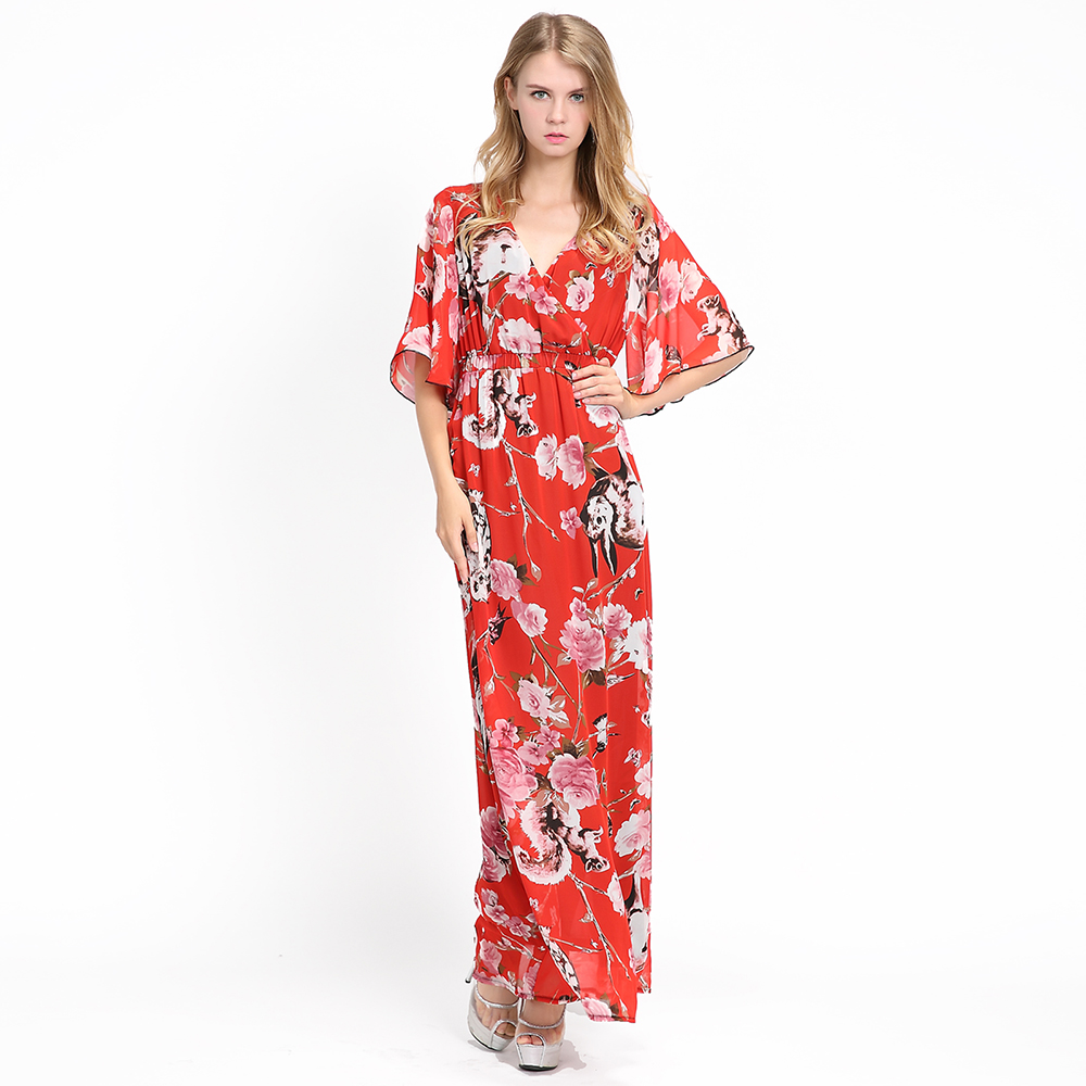 Red Plus Size Floral Animal Printed Summer Beach Long Casual Sundresses